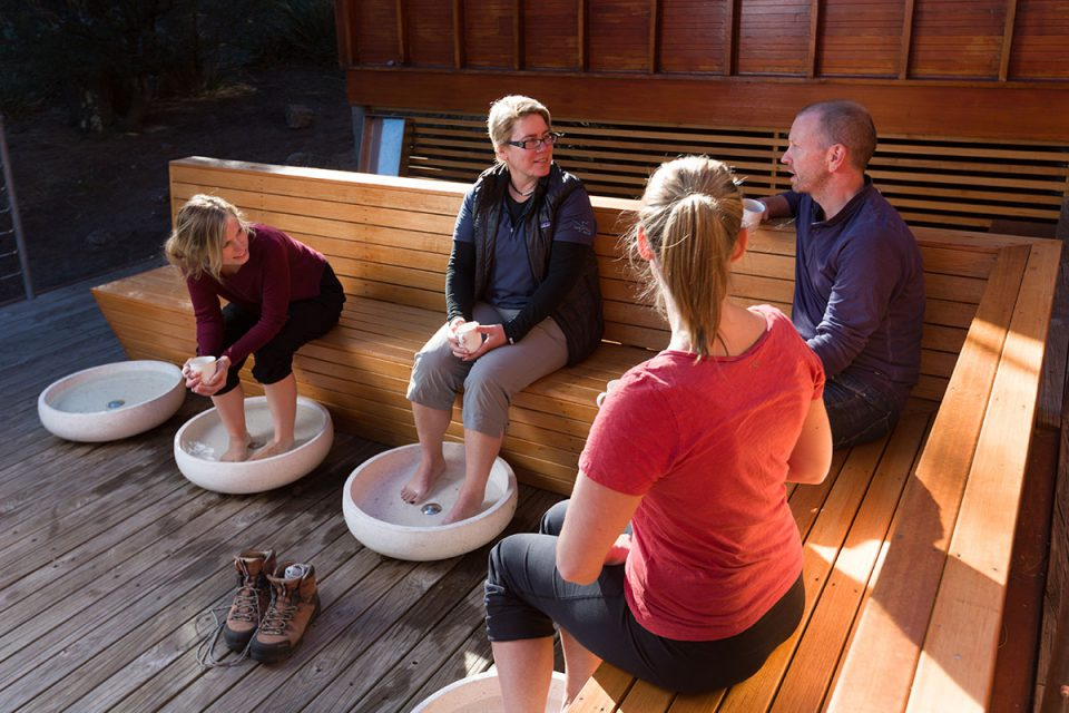 Soak your feet in relaxing footbaths at the Bay of Fires Lodge Spa in Tasmania.