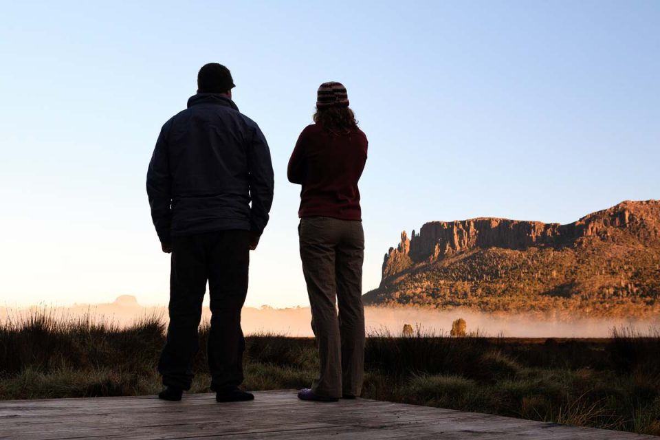 Enjoy incredible views with Great Walks of Australia on the Cradle Mountain Huts Walk.