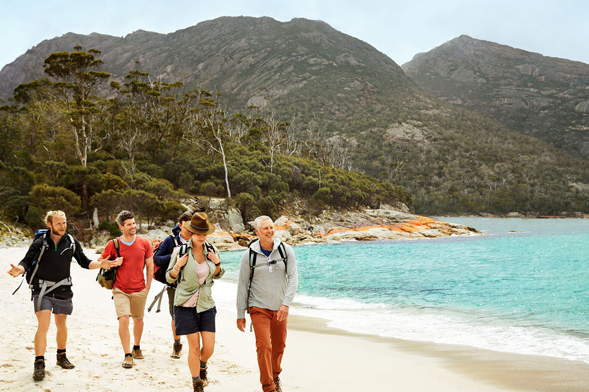 Enjoy guided walking with Great Walks of Australia on the Freycinet Experience Walk in Tasmania.