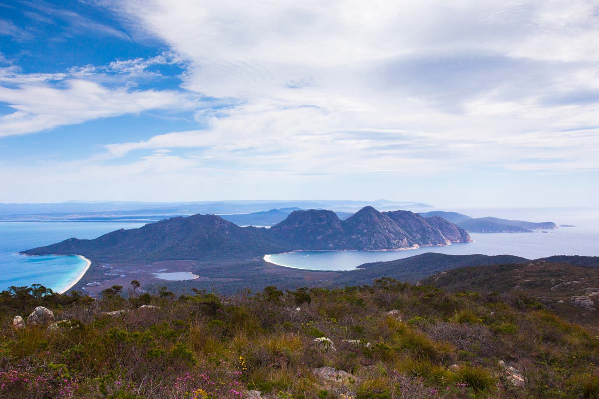 View the incredible sight of Wineglass Bay and Hazard Mountains with Great Walks of Australia.