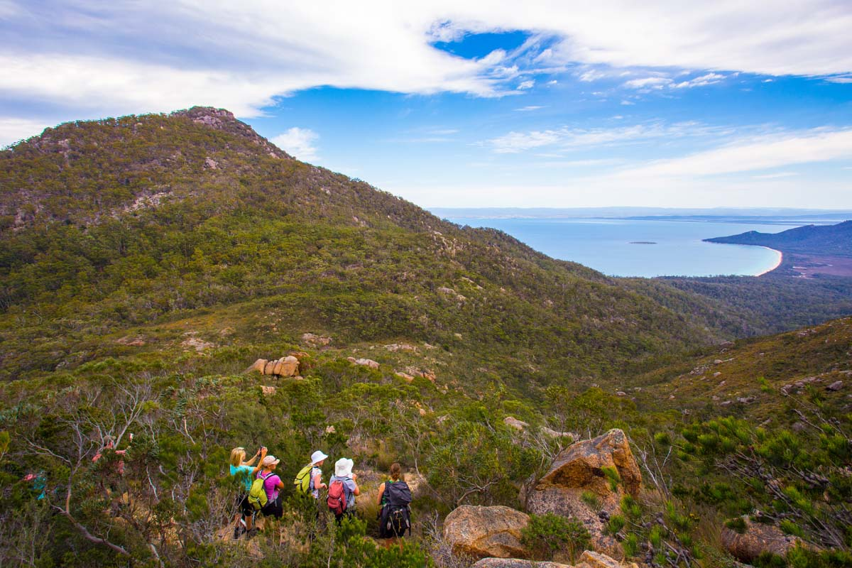 Take more challenging walking options on the Freycinet Experience Walk, Tasmania.