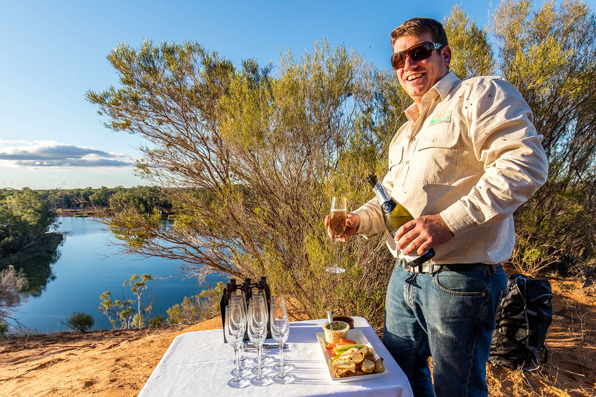 Enjoy Champagne by the river on the Murray River Walk in South Australia.