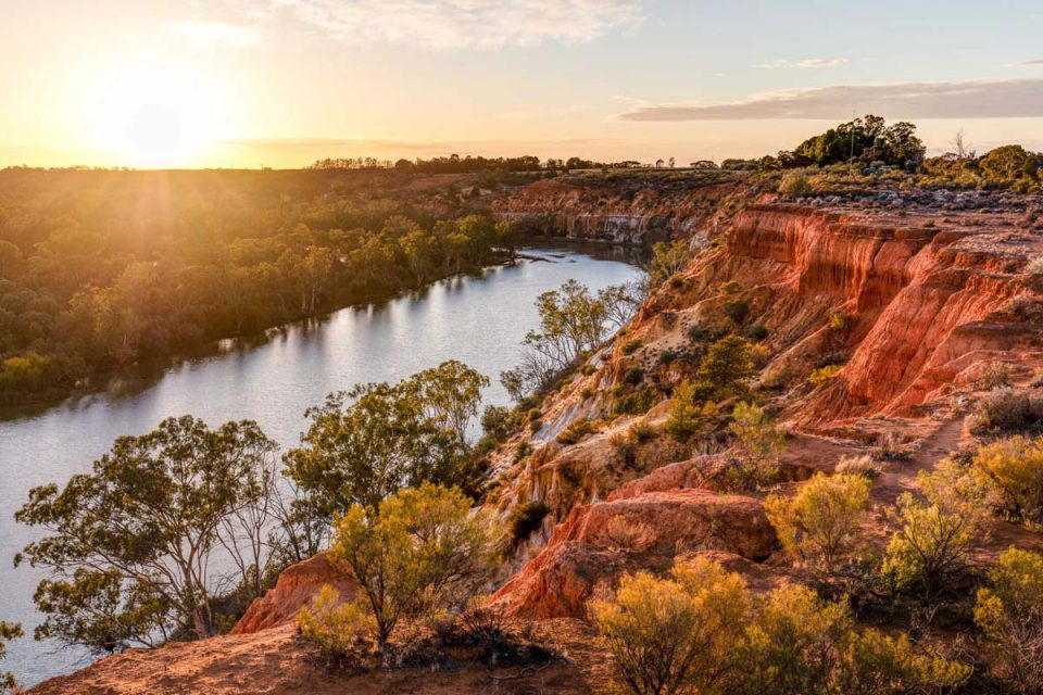 Take in stunning views of Headings Cliff on the Murrary River Walk in South Australia.