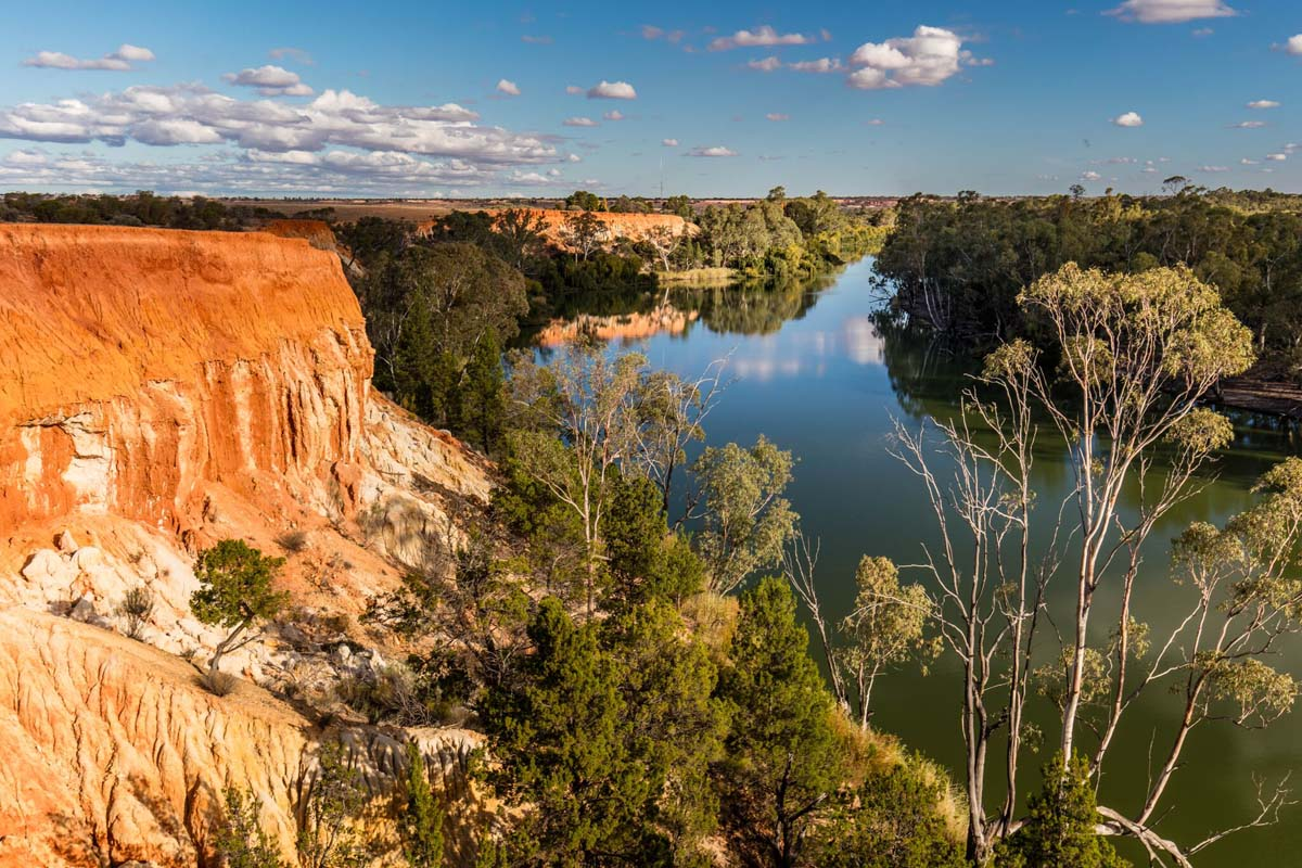 Enjoy beautiful cliff scenery in South Australia on the Murray River Walk.