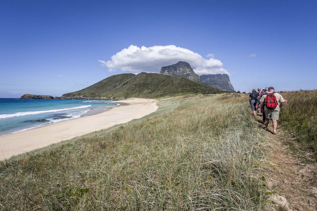 Walk alongside beautiful Australian beaches on the Seven Peaks Walk on Lord Howe Island, New South Wales.