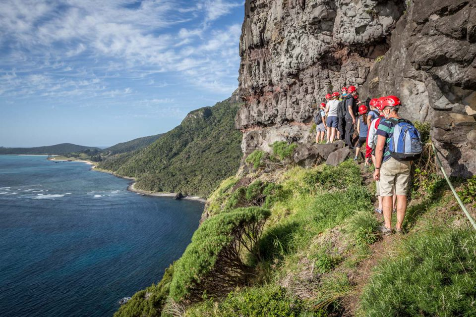 Traverse cliff edges on the guided Great Walk of Australia on Lord Howe Island.