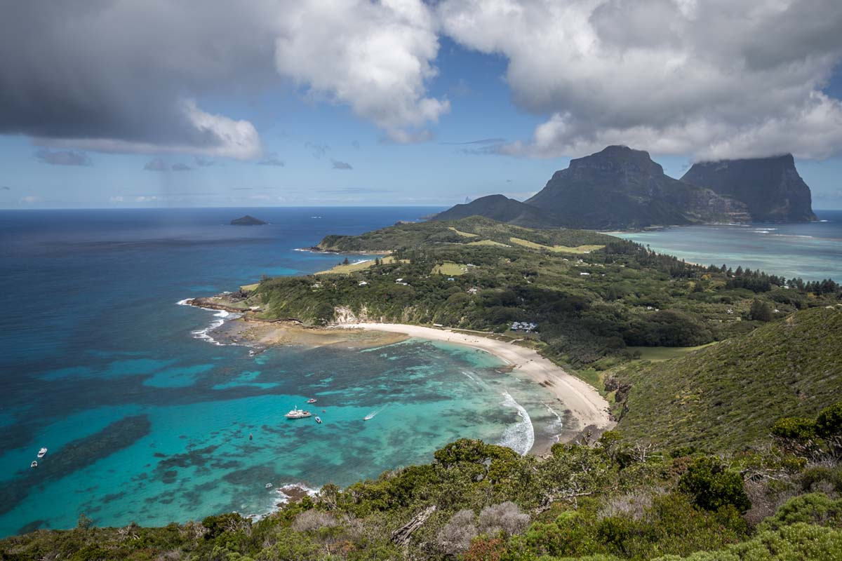 The Seven Peaks Walk offers stunning views of the bay on Lord Howe Island in New South Wales.