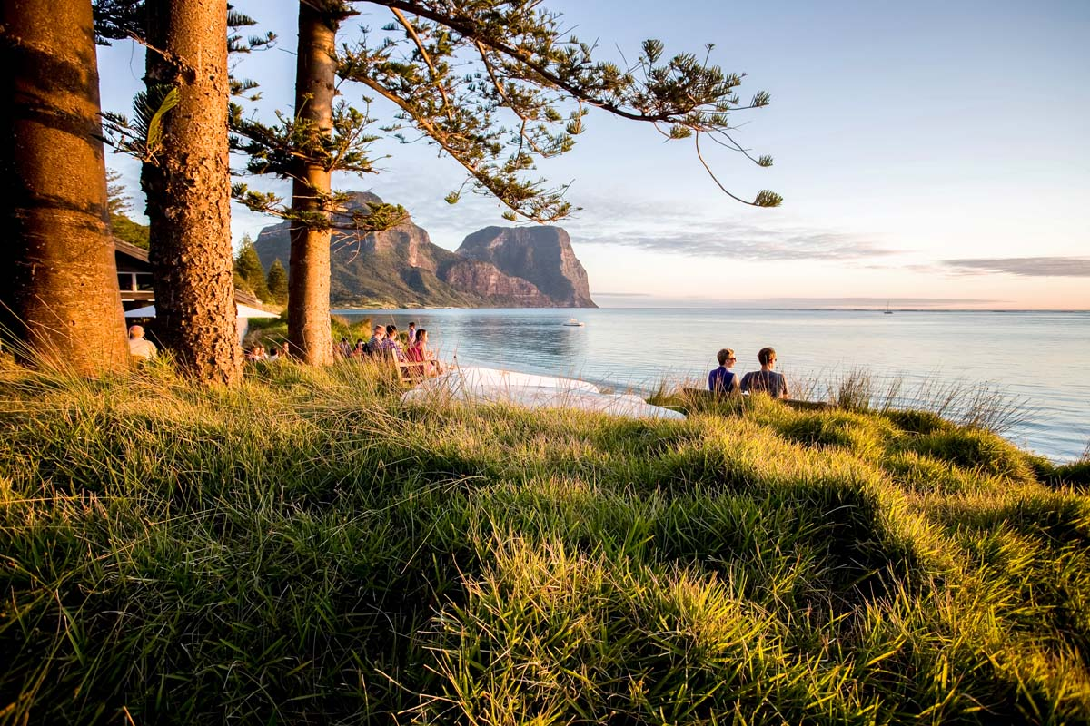 Enjoy views of the coastline on Lord Howe Island from the luxurious Pinetrees Lodge.