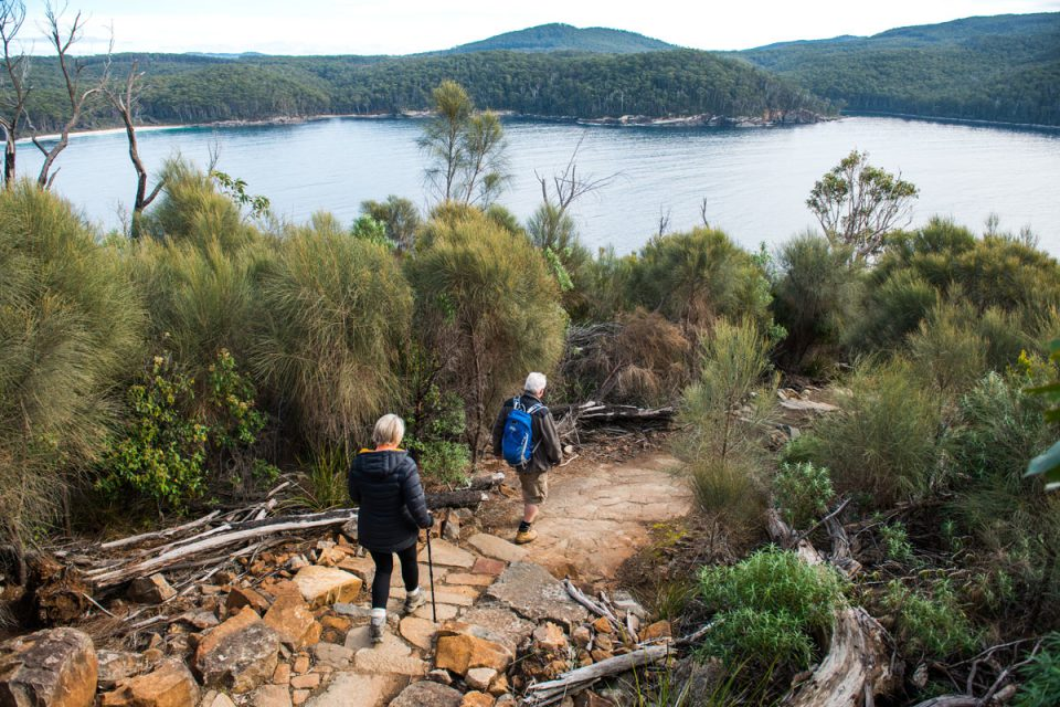 Hike the descent on the Three Capes Lodge Walk with Great Walks of Australia and the Tasmanian Walking Company.