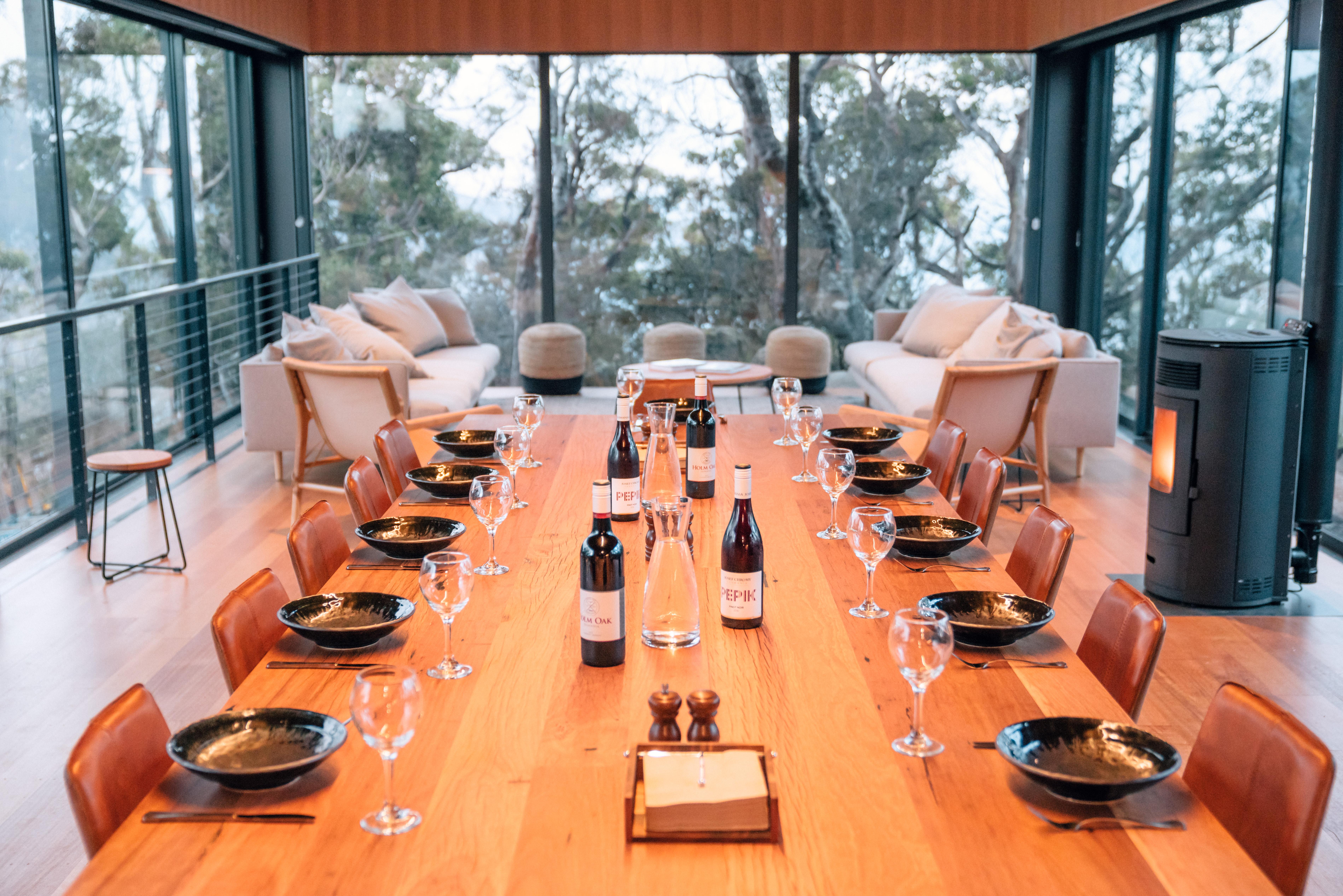 Dining at Cape Pillar Lodge
