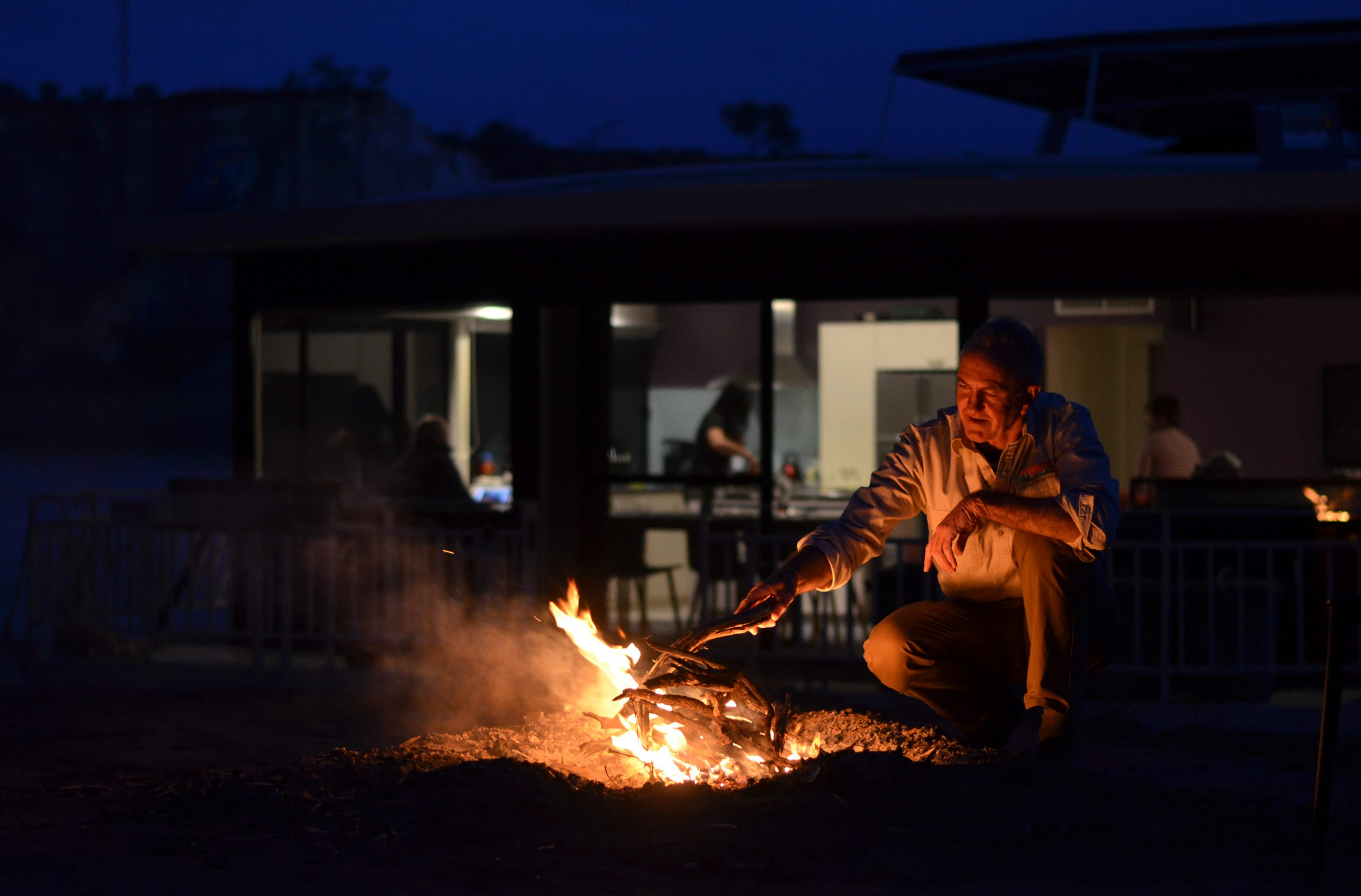 Evening campfire on the Murray River Walk