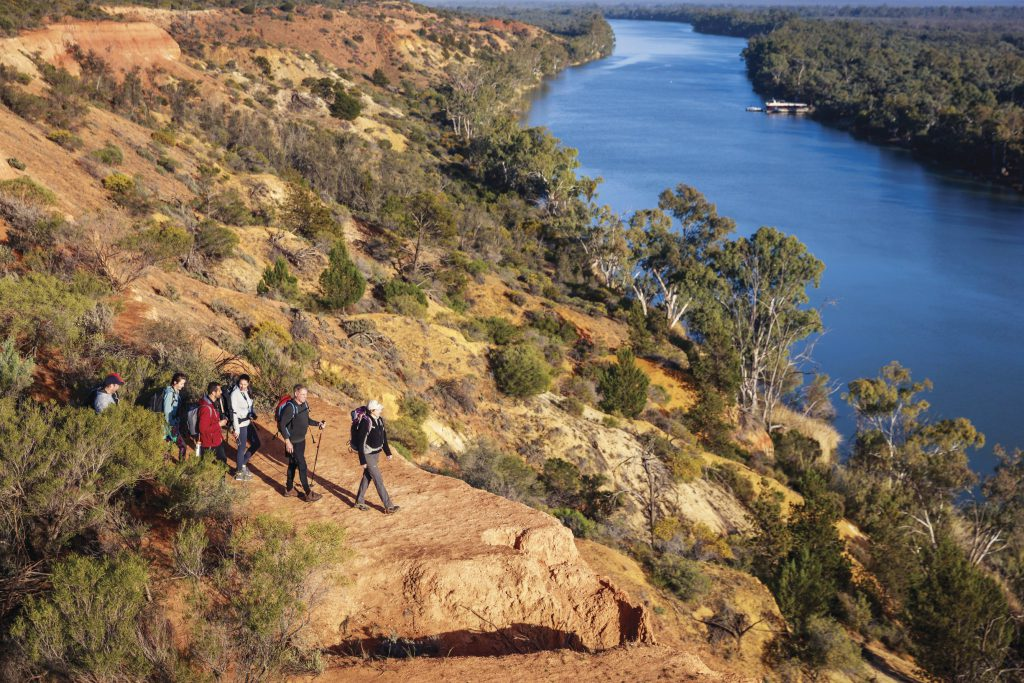 Walkers on the Murray River Walk